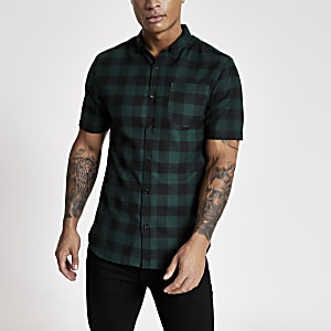 Dark green check regular fit shirt