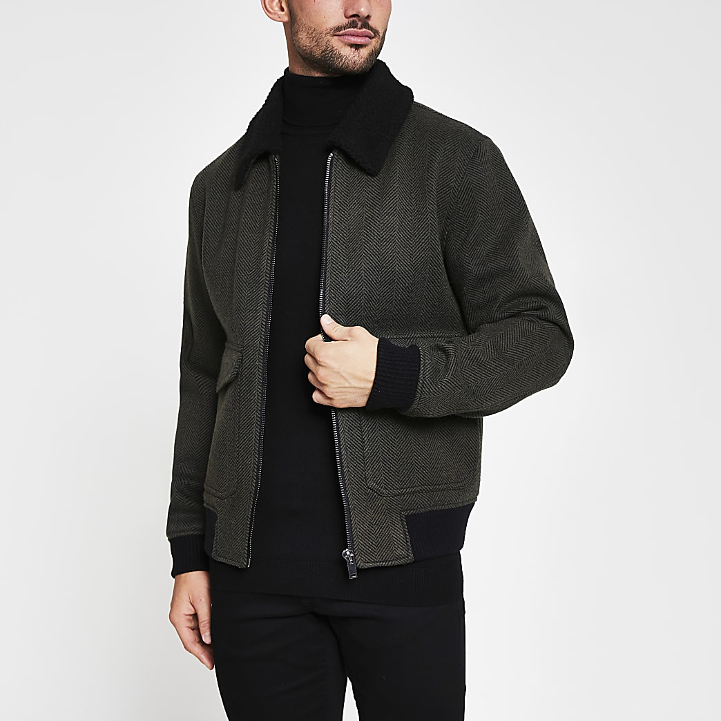 Dark green herringbone borg flight jacket