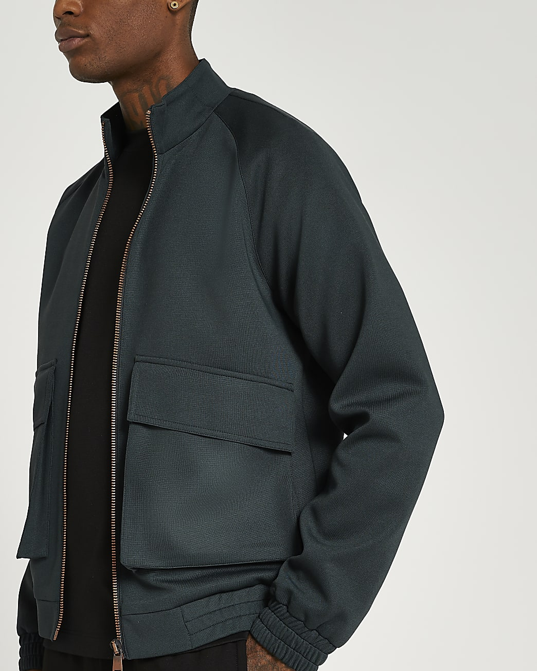 Dark green oversized fit bomber jacket