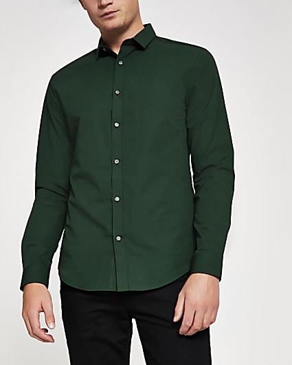 Dark green slim fit long sleeve shirt
