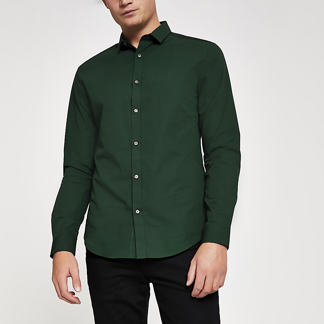 Dark green slim fit long sleeve shirt