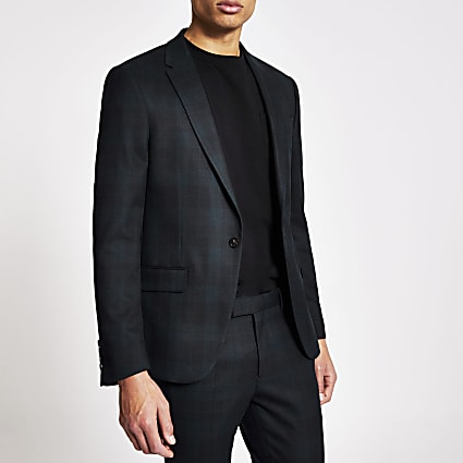 Dark green tartan ultra skinny suit jacket