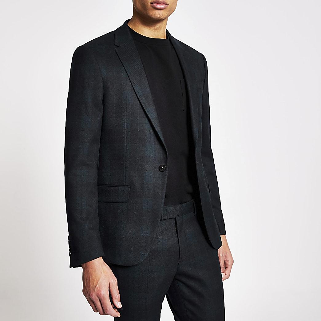 Dark green tartan ultra skinny suit jacket