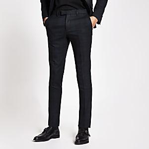 Pantalon de costume ultra skinny en tartan vert foncé