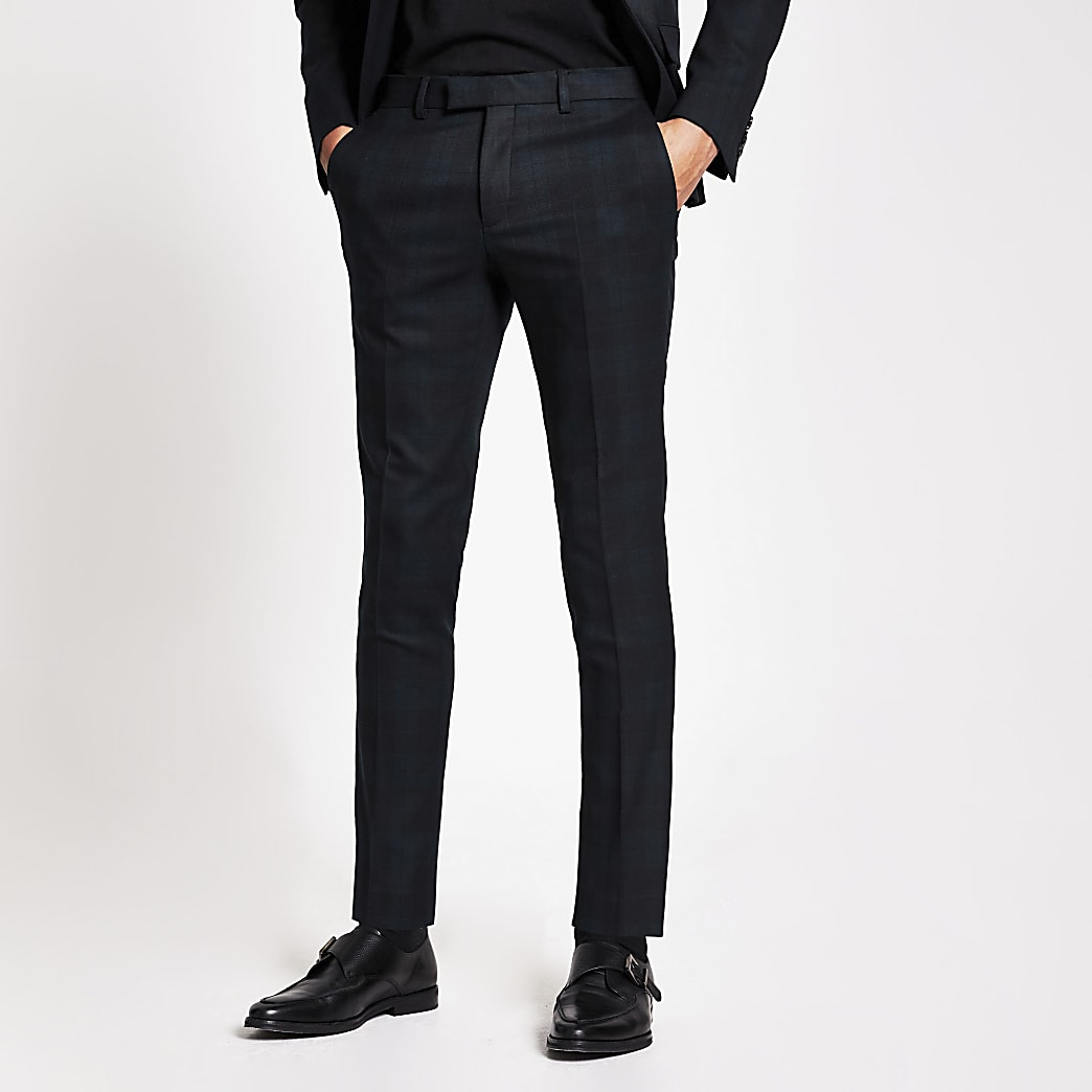 Donkergroene geruite ultra skinny pantalon