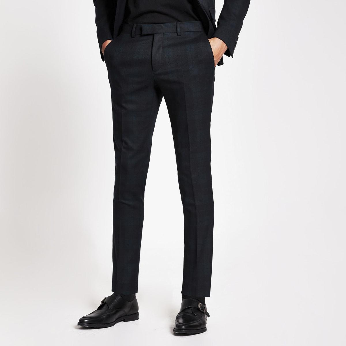 Dark green tartan ultra skinny suit trousers