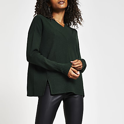 Dark green v neck chunky trim jumper