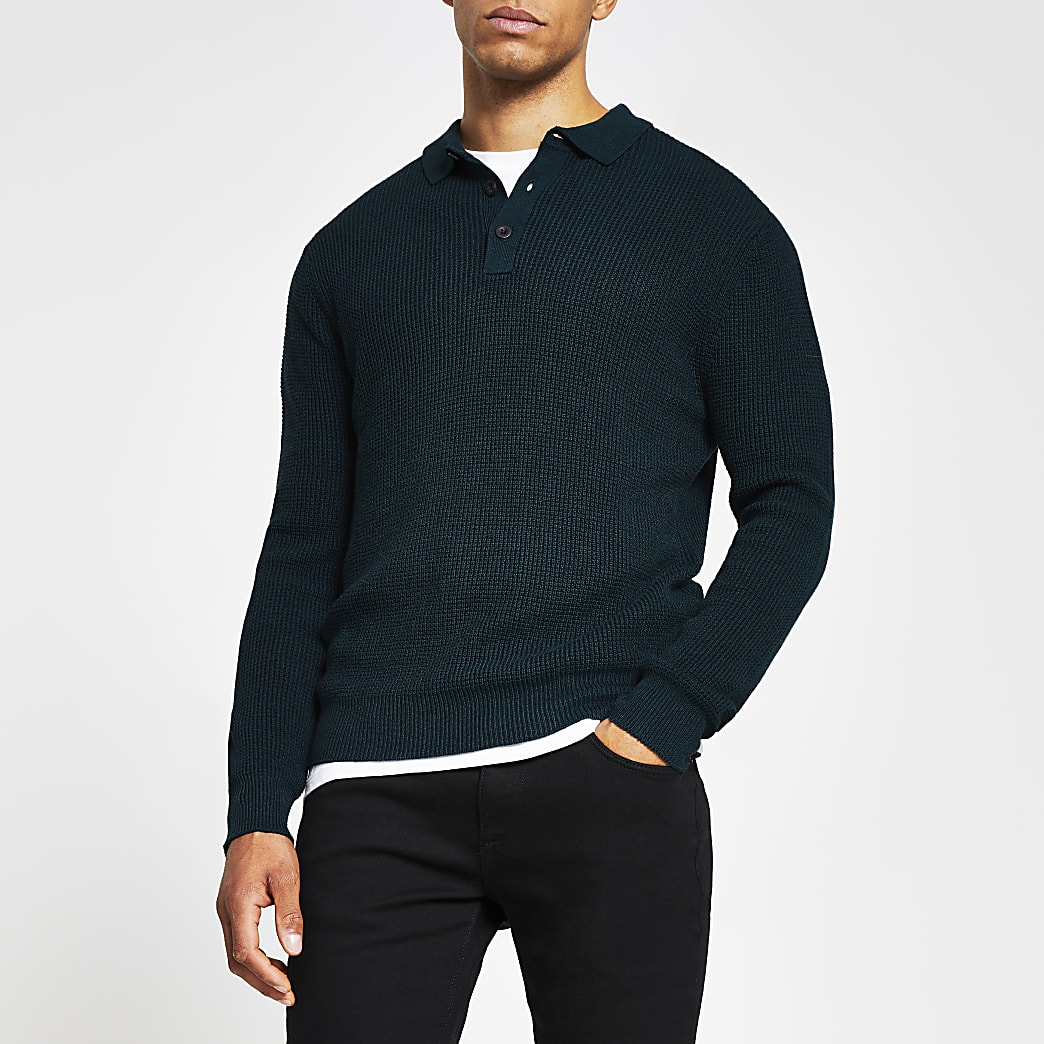 Dark green waffle knitted long sleeve jumper