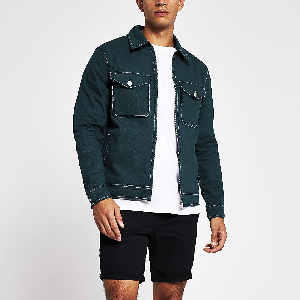Dark green zip denim jacket