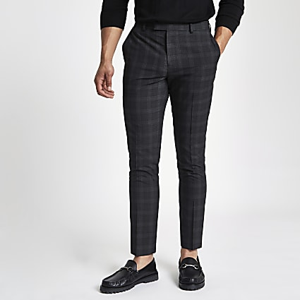 Dark grey check skinny fit smart trousers
