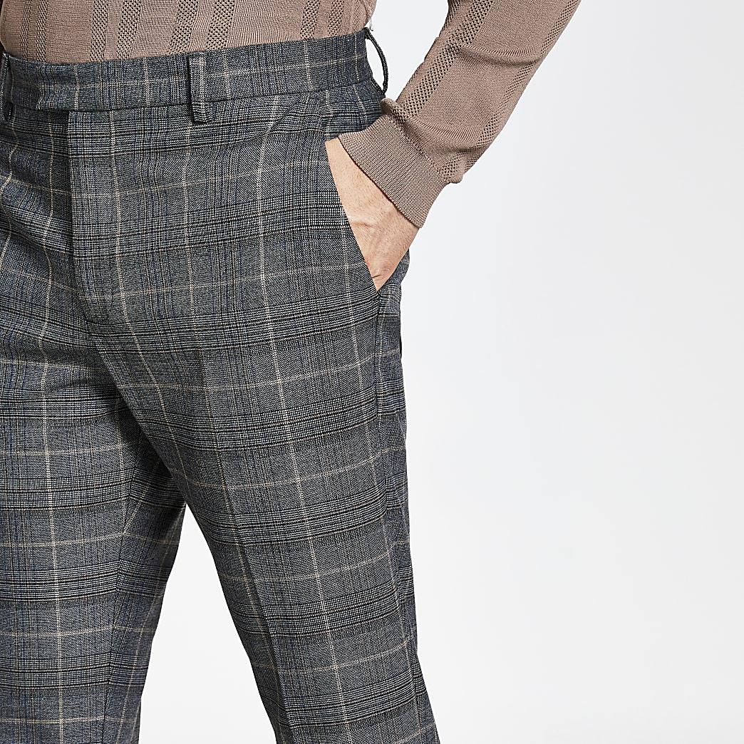 Pantalon slim gris foncéà carreaux