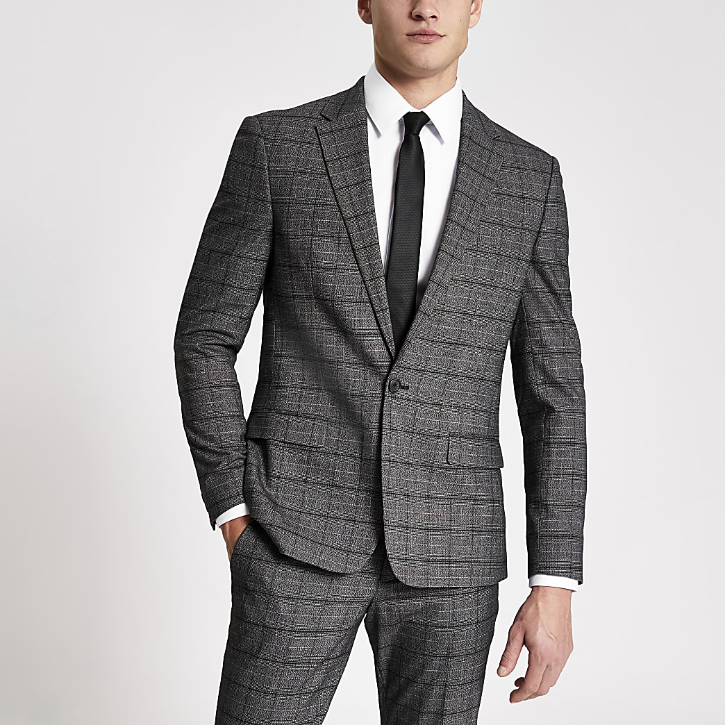 Dark grey check stretch skinny suit jacket
