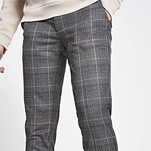 Kurz geschnittene Super Skinny Hose mit dunkelgrauem Karomuster