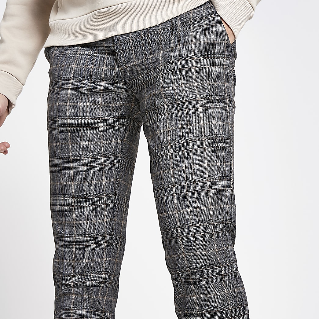 Dark grey check super skinny cropped trousers