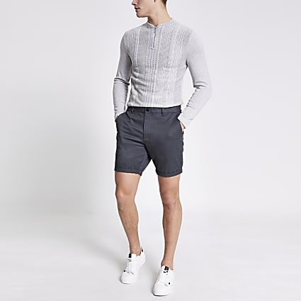 Dark grey Dylan slim fit shorts