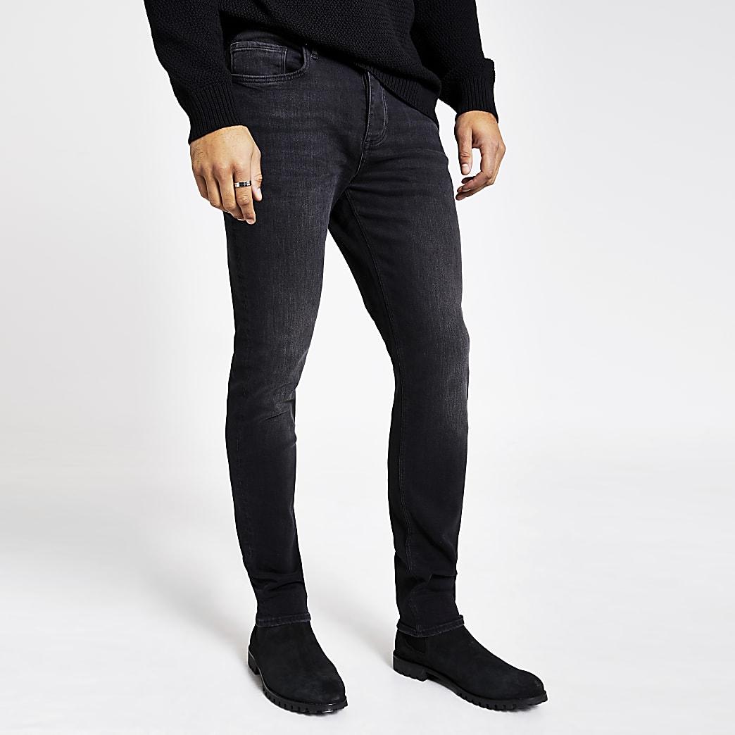 Dylan - Donkergrijze slim-fit stretch jeans