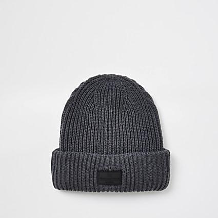 Dark grey fisherman beanie hat