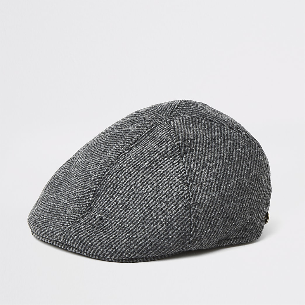 Dark grey herringbone flat cap