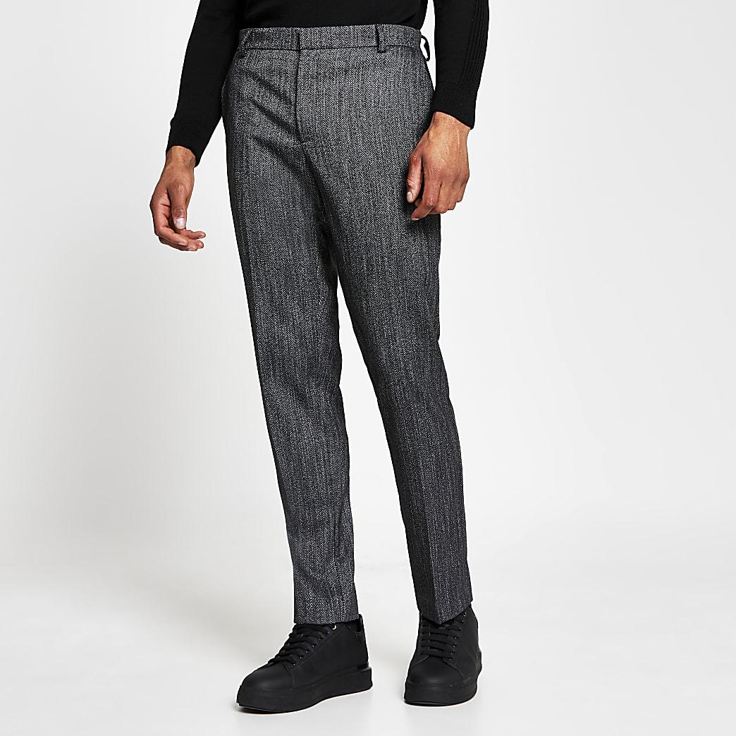 Dark grey herringbone skinny fit trousers