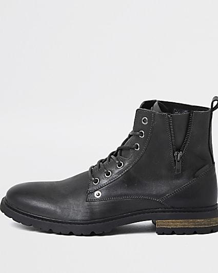 Dark grey leather zip up boots