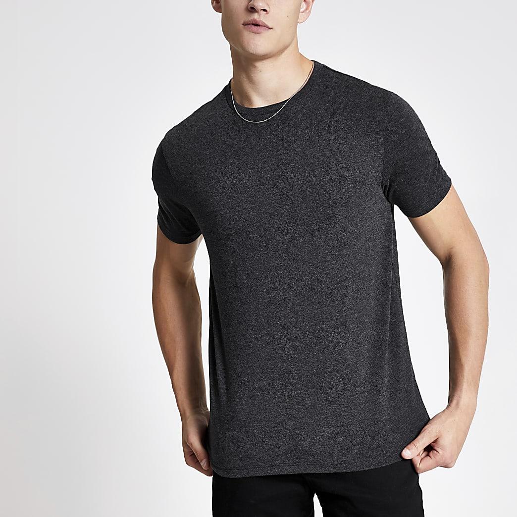 Donkergrijs gemêleerd slim-fit T-shirt met ronde hals