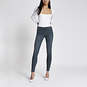 Molly - Donkergrijze jegging met halfhoge taille