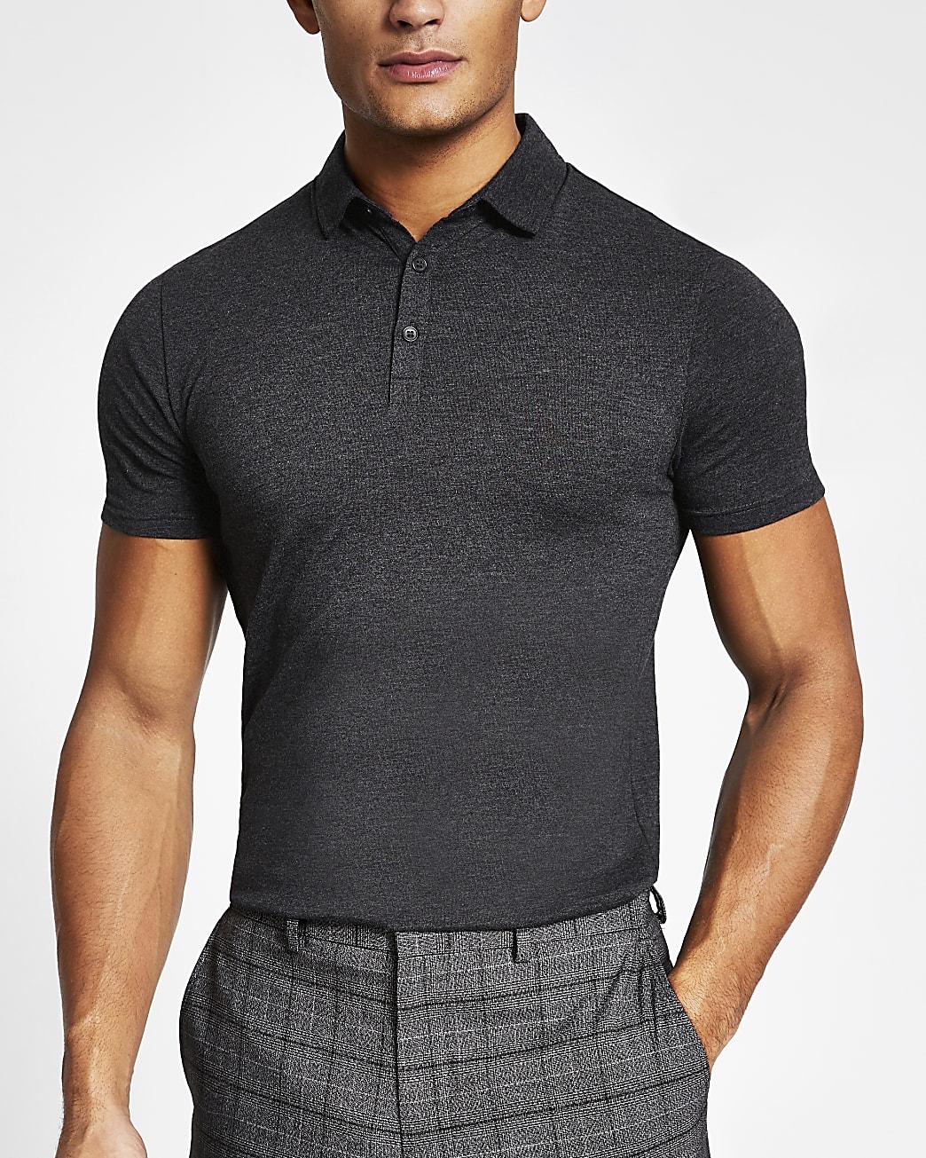 Dark grey muscle fit short sleeve polo shirt