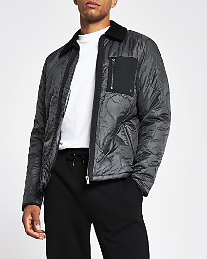 Dark grey patch pocket quilted jacket