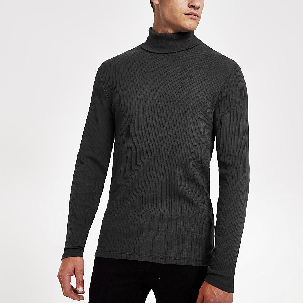 Donkergrijs smal T-shirt met col en lange mouwen