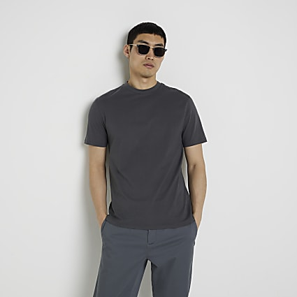 Dark grey short sleeve slim fit t-shirt