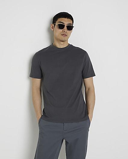 Dark grey short sleeve slim fit t-shirt