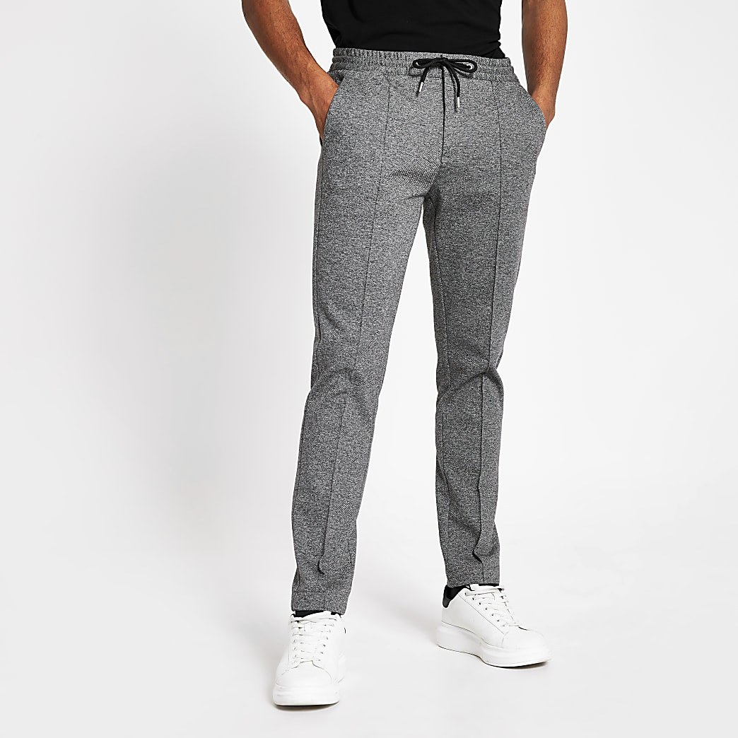 Dark grey skinny fit smart joggers