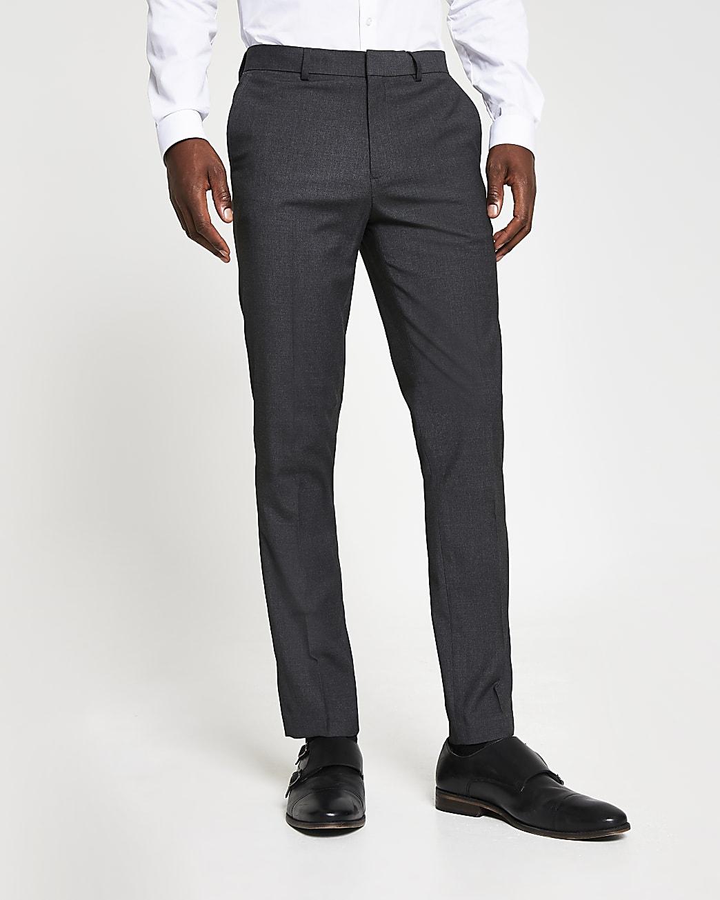 Dark grey skinny fit smart trousers