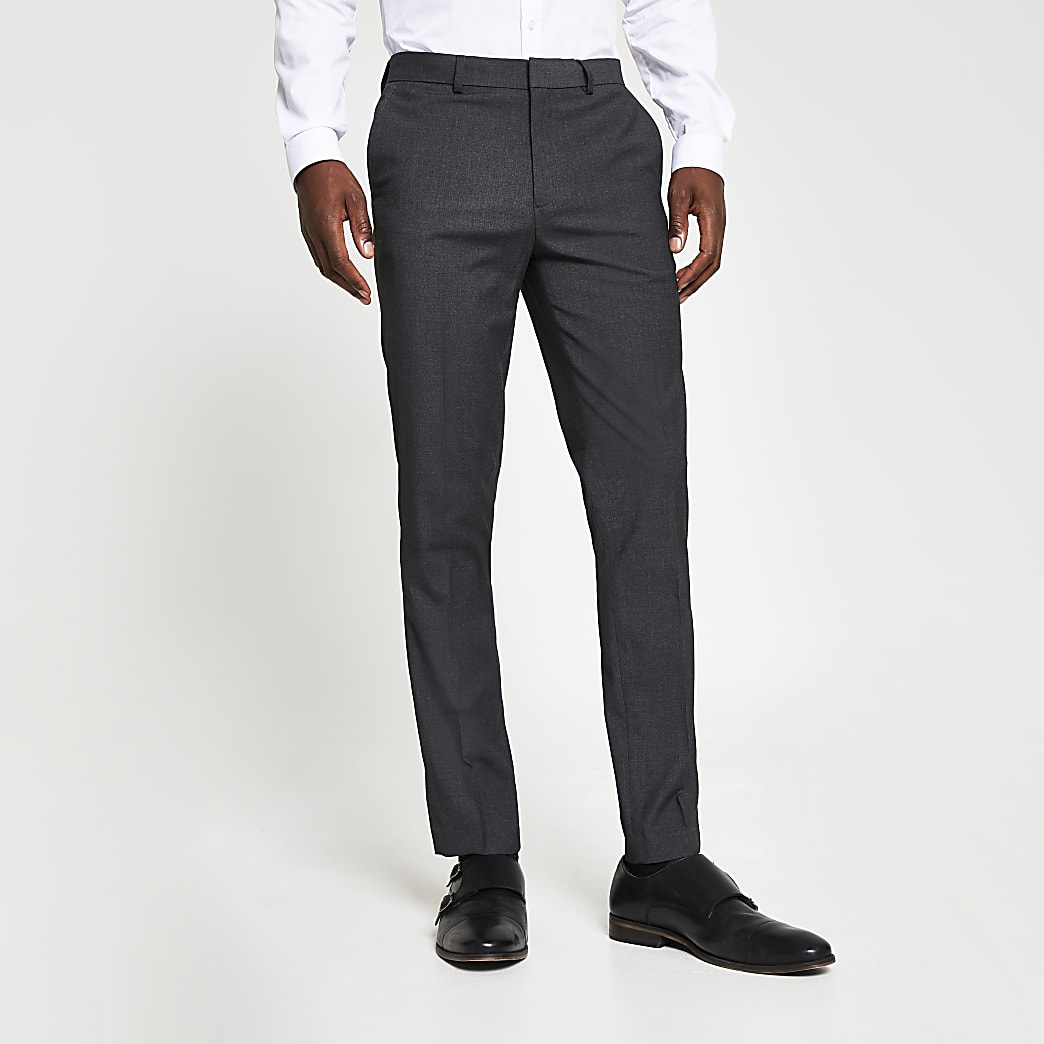 Dark grey skinny fit smart trousers