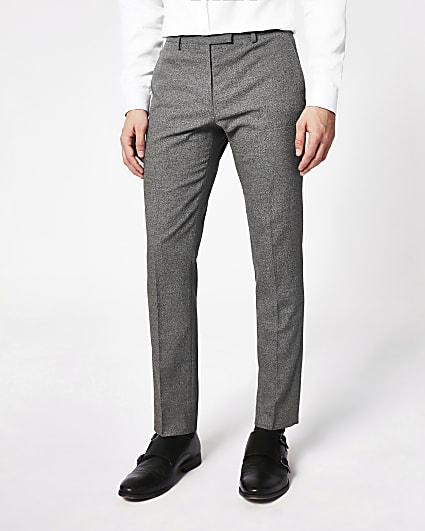 Dark grey skinny suit trousers
