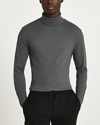Dark grey slim fit ribbed roll neck t-shirt
