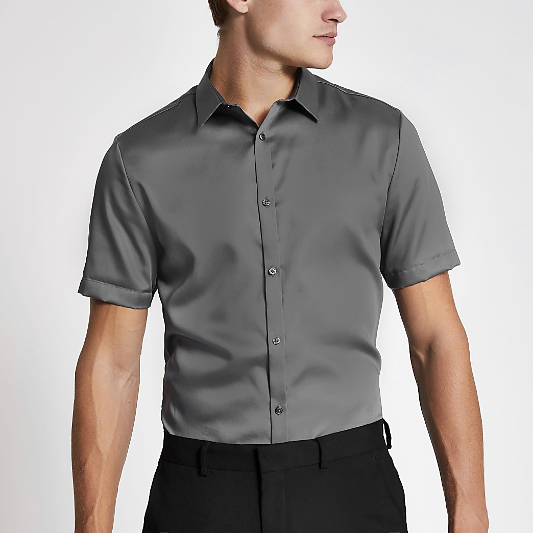 Donkergrijs premium slim-fit overhemd met korte mouwen