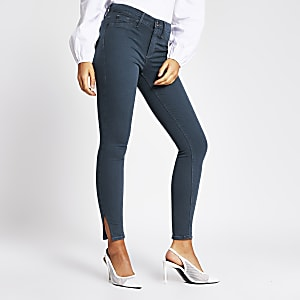 Molly – Graue Mid-Rise-Jeggings mit geschlitzem Beinsaum