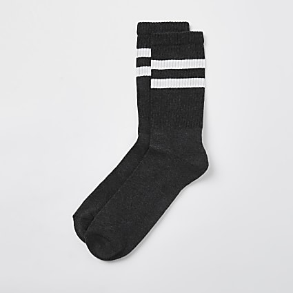 Dark Grey stripe design socks