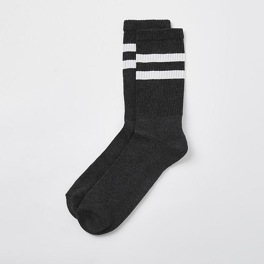 Dark Grey stripe design socks