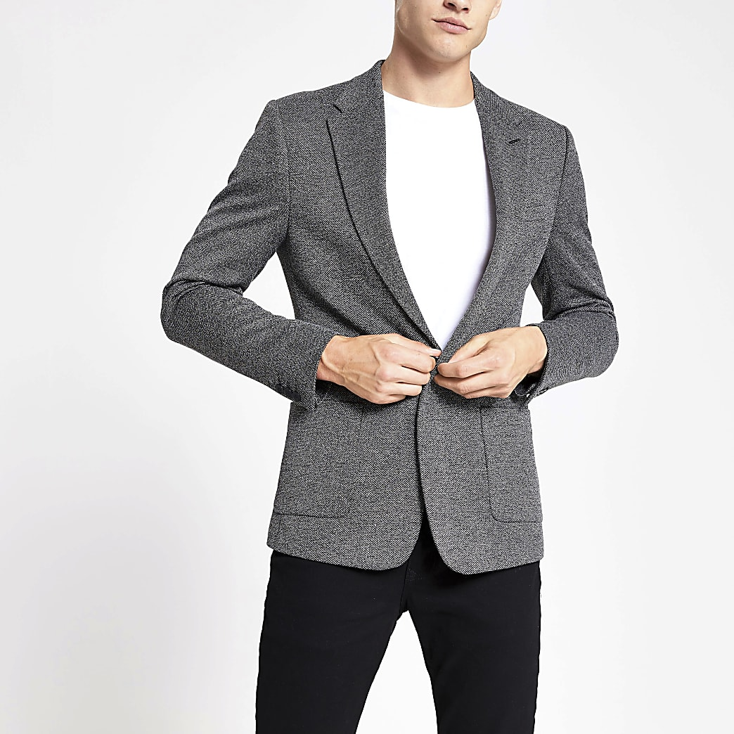 Dark grey textured skinny fit blazer