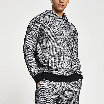 Dark grey textured slim fit hoodie