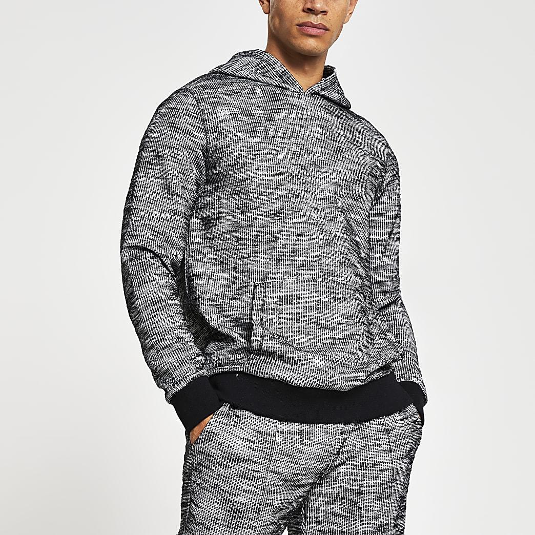 Dark grey textured slim fit hoodie