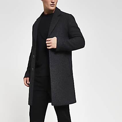 Dark grey twill wool overcoat