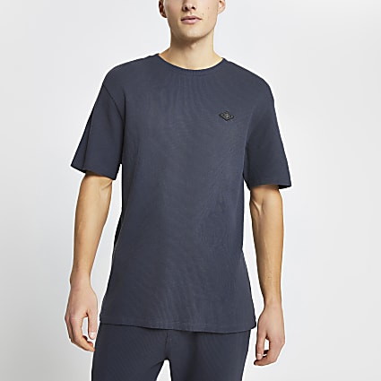 Dark grey waffle short sleeve pyjama t-shirt
