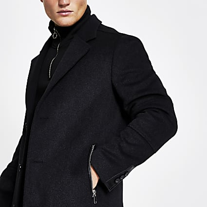 Dark grey wool zip pocket overcoat
