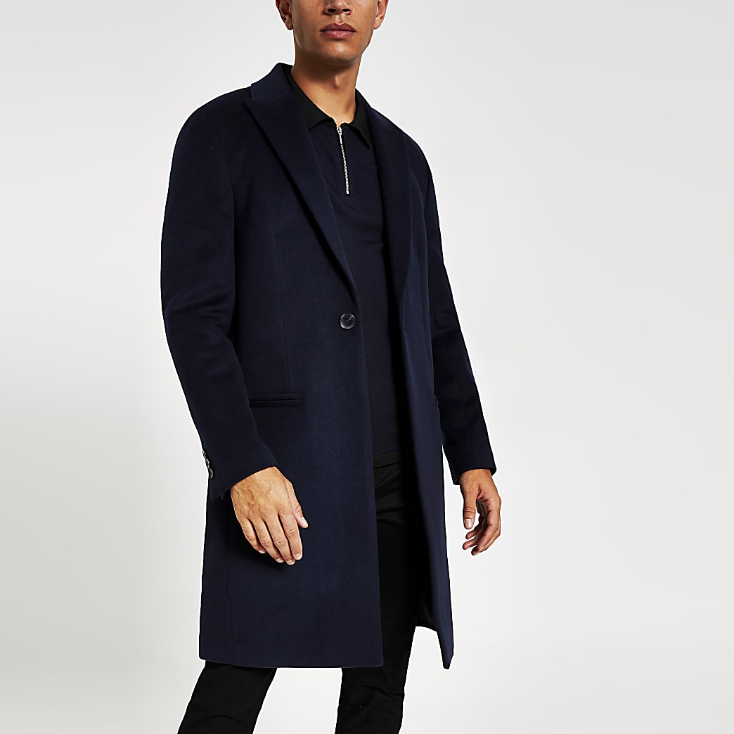 Dark navy single breasted overcoat