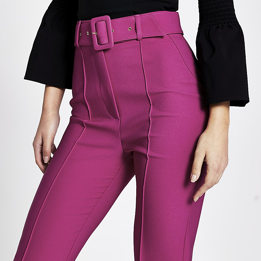 Dark pink belted peg trousers