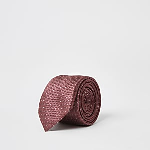 Dark pink spot print tie