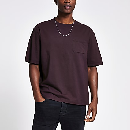 Dark purple chest pocket boxy fit T-shirt